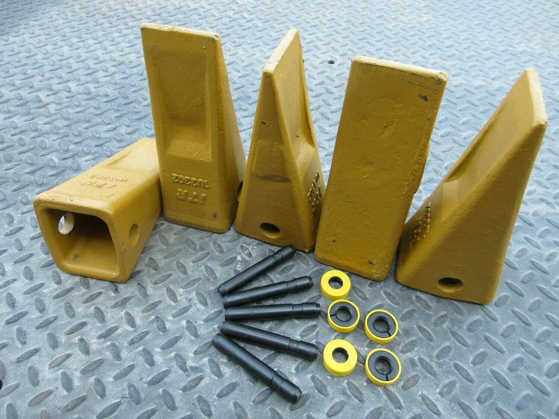 Set of 5- 1U3302 Cat Style Bucket Teeth Tooth & 9J2308 Pin 8E6259 Retainer Excavator