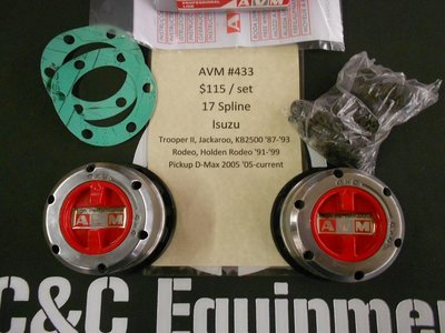 AVM 433 locking hubs Isuzu Trooper 2 II Rodeo D-Max Jackaroo warn 61385 lock outs
