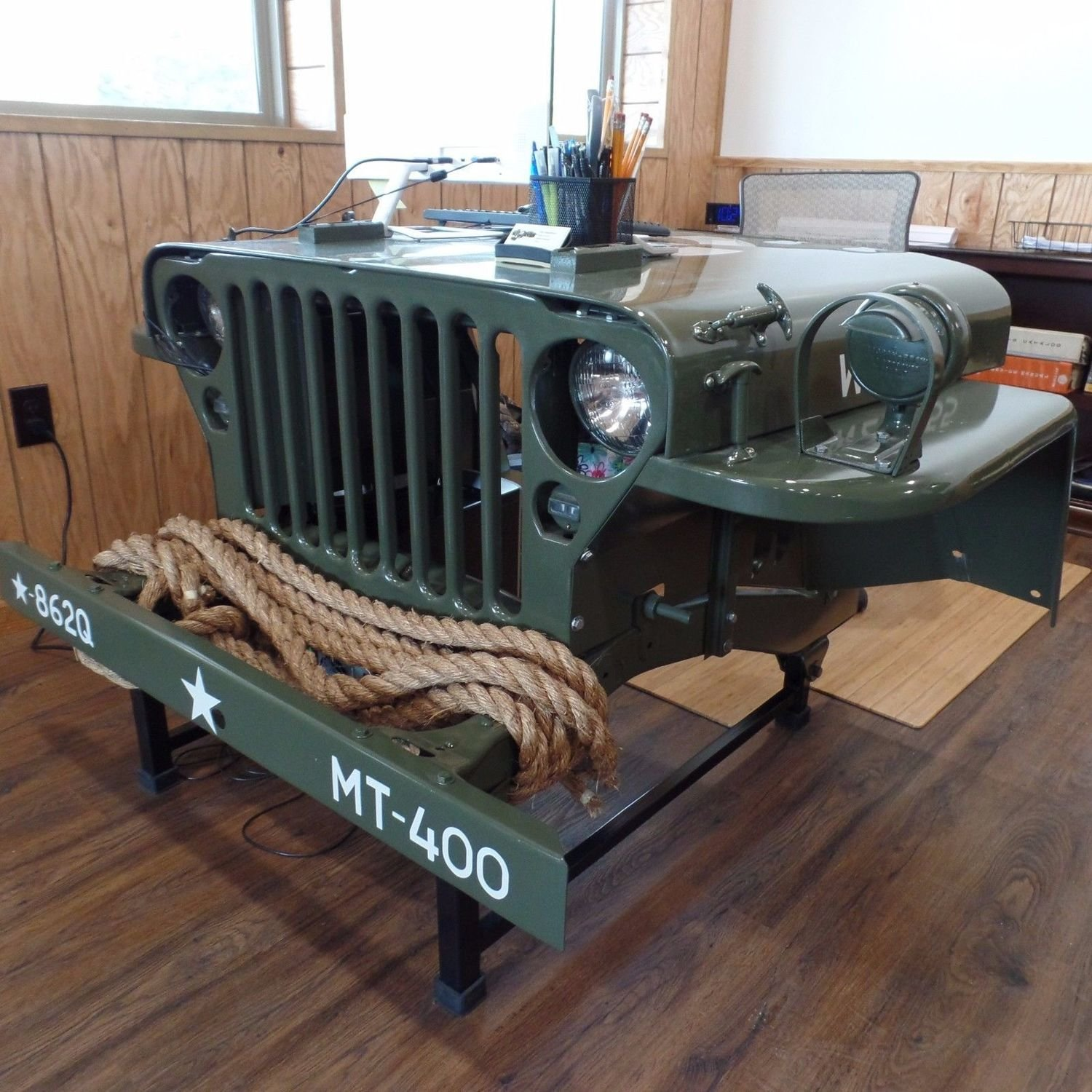 1942-43 MB CJ2A Military Jeep Desk with lights