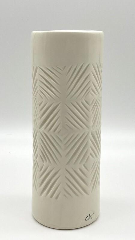 carved cylinder vase - clear glaze