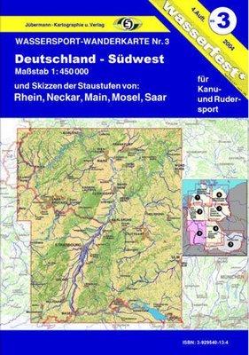 Jübermann Wassersport- Wanderkarte WW3 Deutschland- Südwest