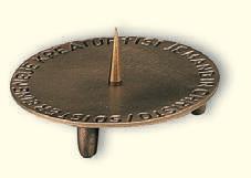 Kerzenständer für Braut und Taufkerzen, Bronzeguss 10cmØ