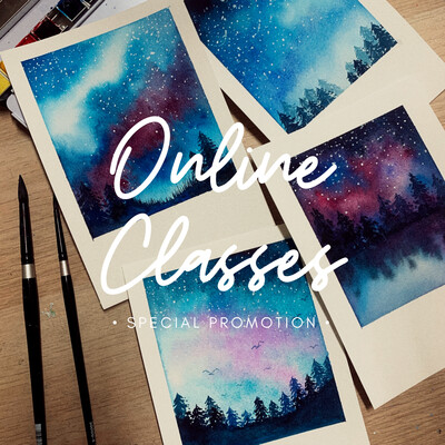 Online Classes Promotion // Watercolor Polaroid Dreamy Landscape 4 Videos Pack