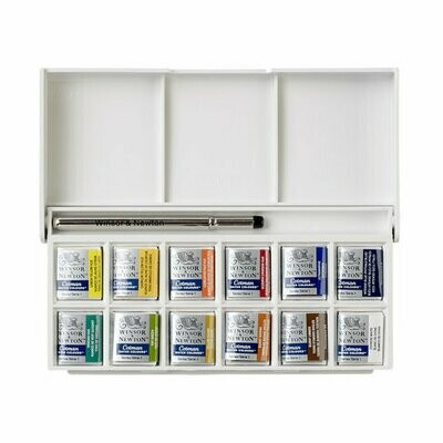 W&N COTMAN WATER COLOUR SKETCHERS POCKET BOX SET 12 HALF PAN - 0390640