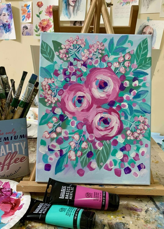 Online Live Workshop // Acrylic Painting Modern Florals