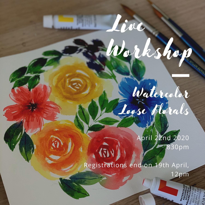 Online Live Workshop // Watercolor Loose Florals