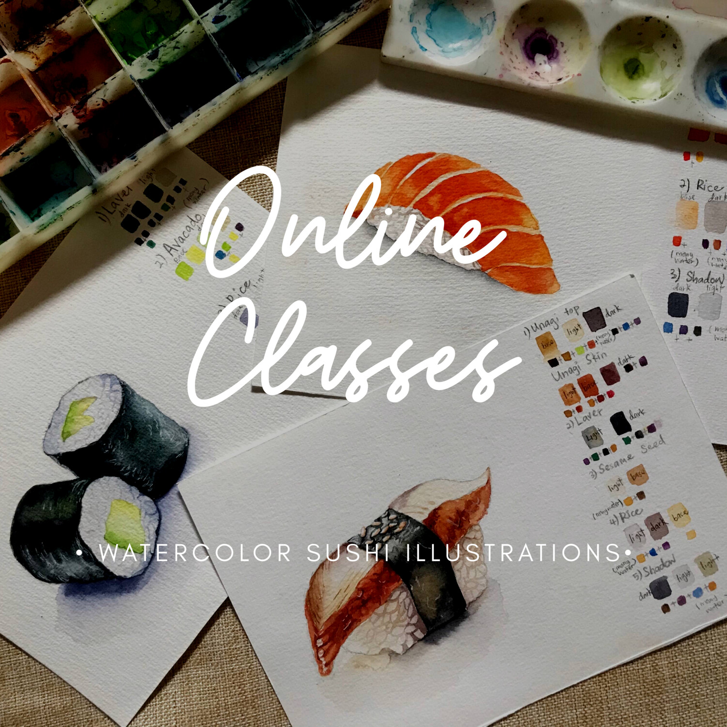 Online Class // Watercolor Sushi Illustrations 3 Video Tutorials