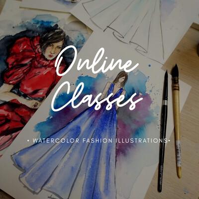 Online Class // Watercolor Fashion Illustrations 4 Video Tutorials
