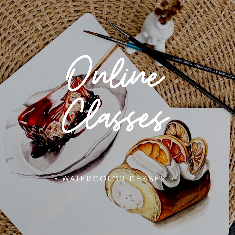 Online Class // Watercolor Desserts 2 Video Tutorials
