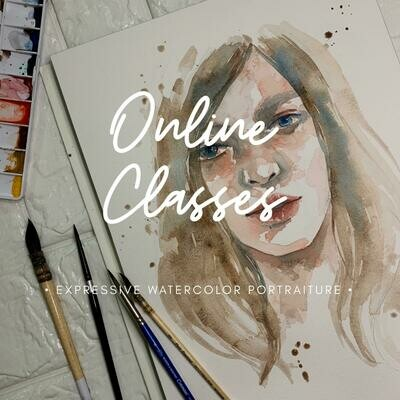 Online Classes // Expressive Watercolor Portraiture 2 Videos pack