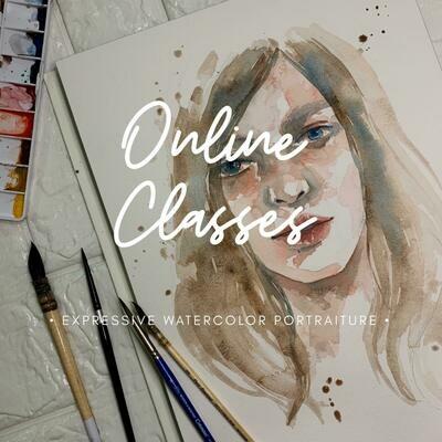 Online Classes // Expressive Watercolor Portraiture 2 Videos pack