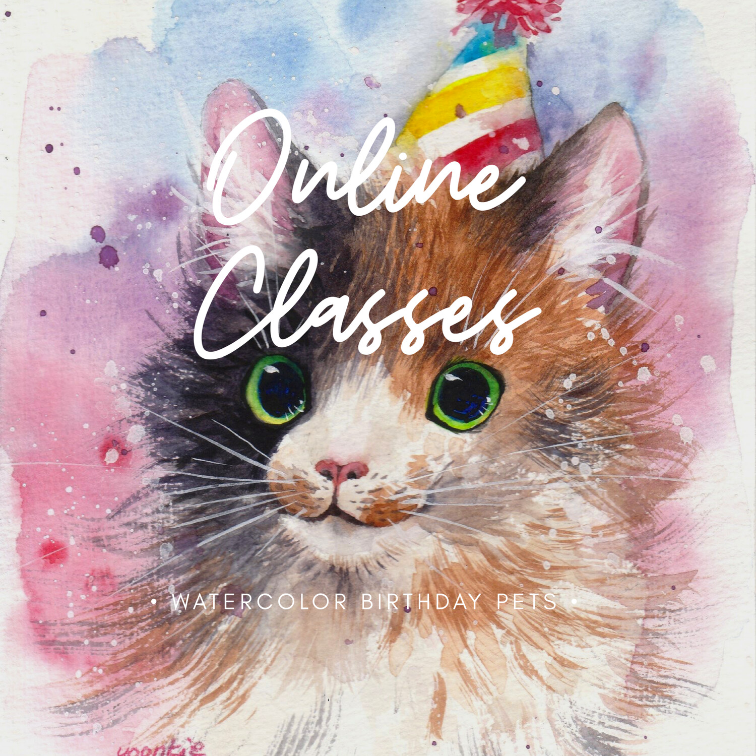Online Class // Watercolor Birthday Pets 4 Videos Pack