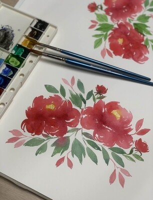 Online Interactive Workshop // Loose Watercolor Peonies