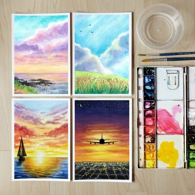 PRE-ORDER ARTivity Box Artist Series - Fluffy Clouds & Dramatic Sunsets Watercolor