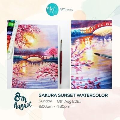 Online Interactive Workshop // Watercolor Sakura Sunset