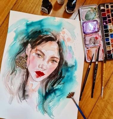 Online Interactive Workshop 19th 2pm // Watercolor Fashion Portrait