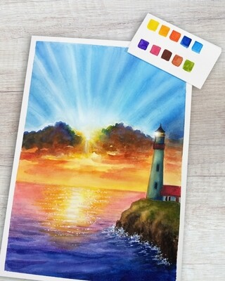 Online Interactive Workshop 18th Sept 3pm // Watercolor Beacon of Light