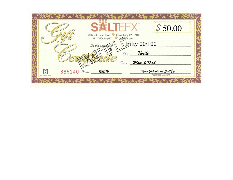 $50 SaltEfx Gift Certificate