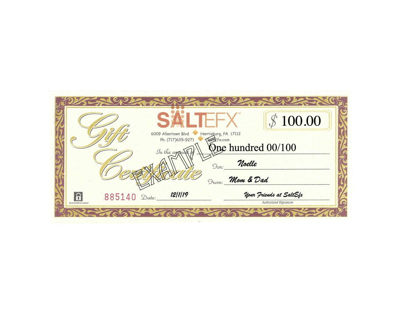 $100 SaltEfx Gift Certificate