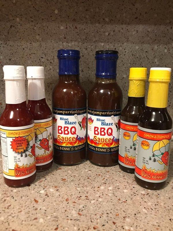 Easy Going Mix.  2 Sriracha, 2 Medium, 2 BBQ - FREE SHIP!