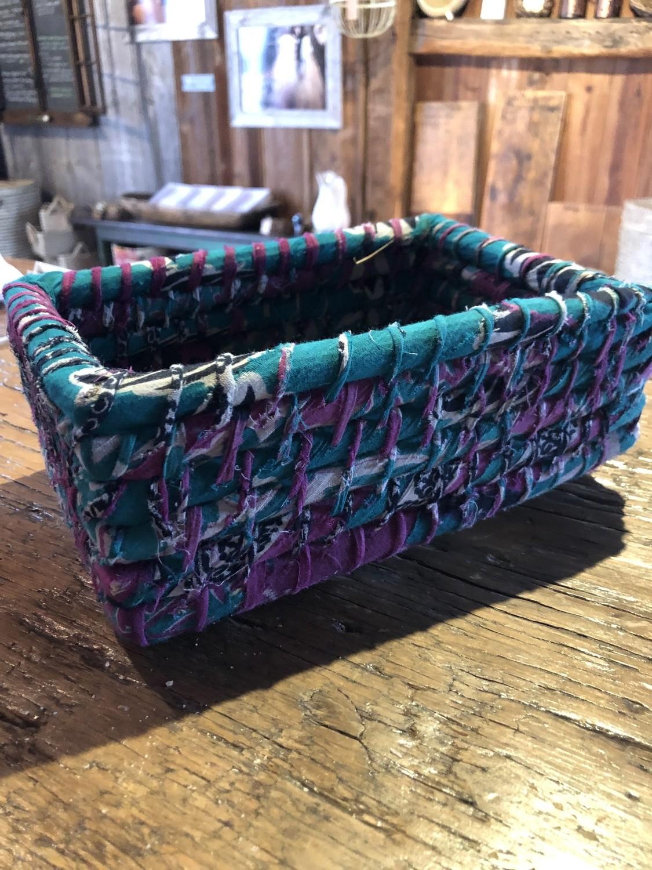 Small, Green Nesting Sari Basket