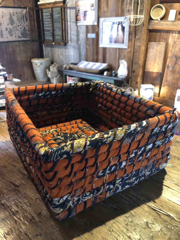 Large, Orange & Black Nesting Sari Basket