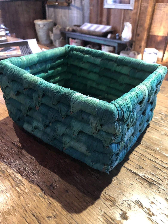 Small Sea Green Corn Husk Basket
