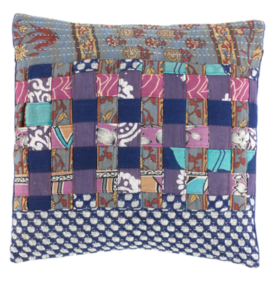 Square Patchwork Cool Tones Kantha Pillow