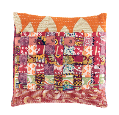 Square Patchwork Warm Tones Kantha Pillow