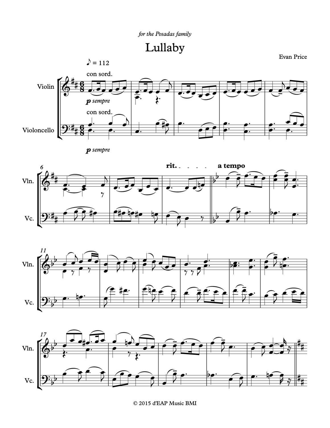 Lullaby for violin (or viola) and cello (pdf)