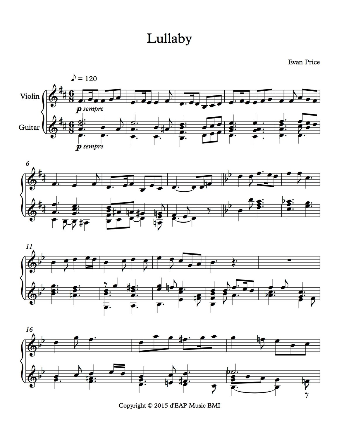 Lullaby for violin and guitar (pdf)