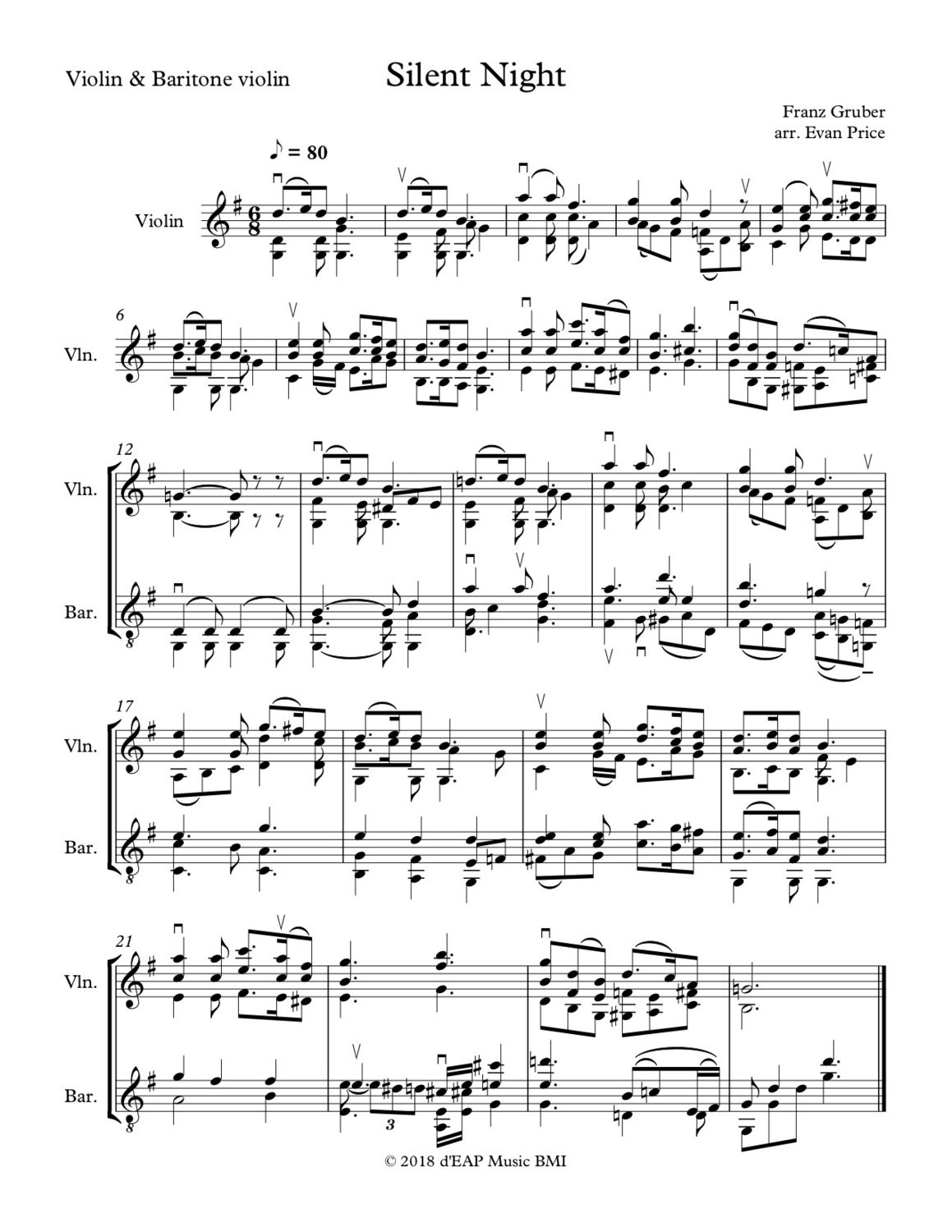 Silent Night - for violin and baritone violin (F. Gruber, arr. E. Price) (pdf)