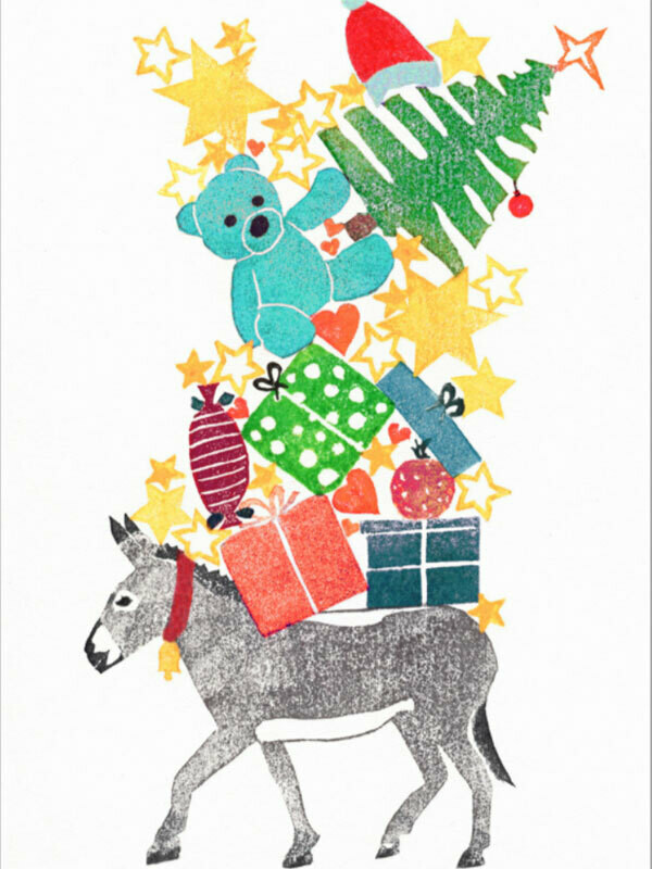 Postkarte Esel