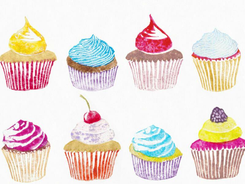 Postkarte Cupcakes