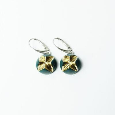 Kolczyki wiszące, KRIS XL, morskie złocone