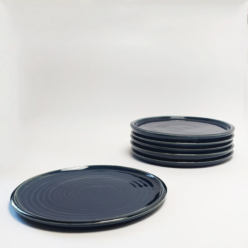 Zestaw 6 Talerzy obiadowych 27 cm niebieski