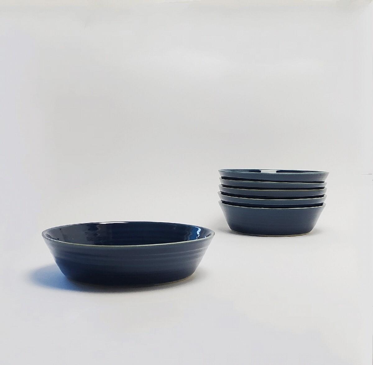 Zestaw 6 talerzy głębokich 800 ml niebieski