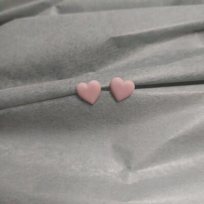 Kolczyki, serduszka różowe mat