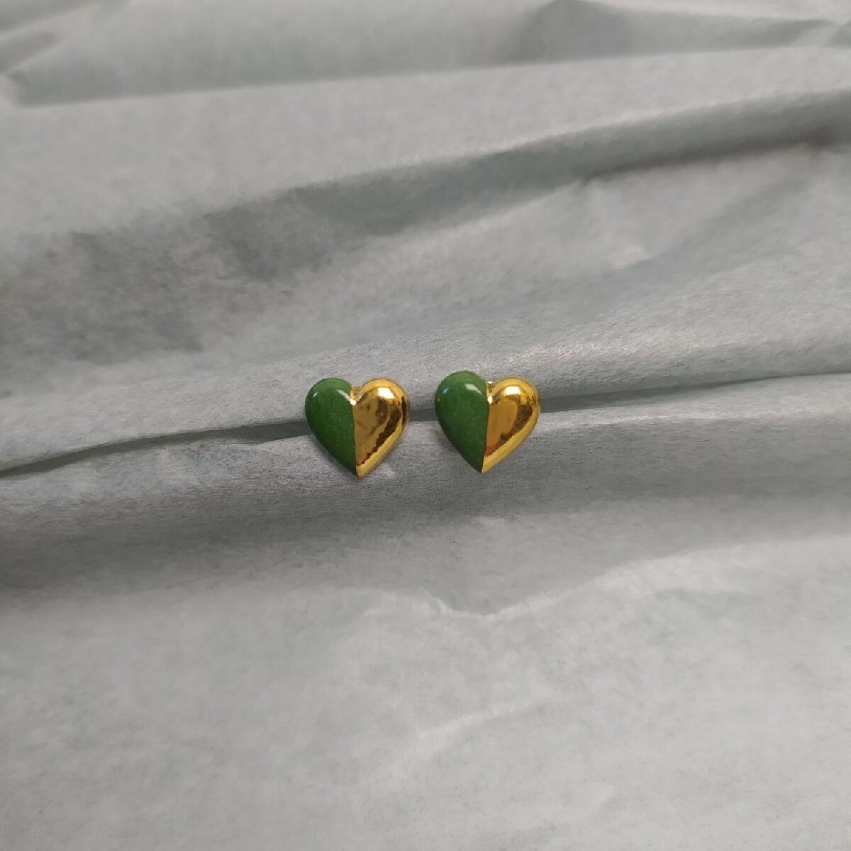 Kolczyki, serduszka zielone