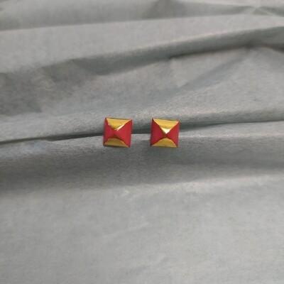Kolczyki, kwadraty, czerwone