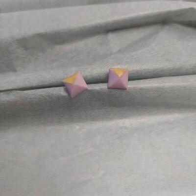 Kolczyki, kwadraty, lila fiolet mat