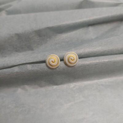 Kolczyki, spirala, białe mat
