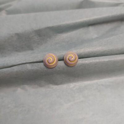 Kolczyki, spirala, lila fiolet mat