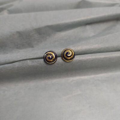 Kolczyki, spirala, brązowe mat