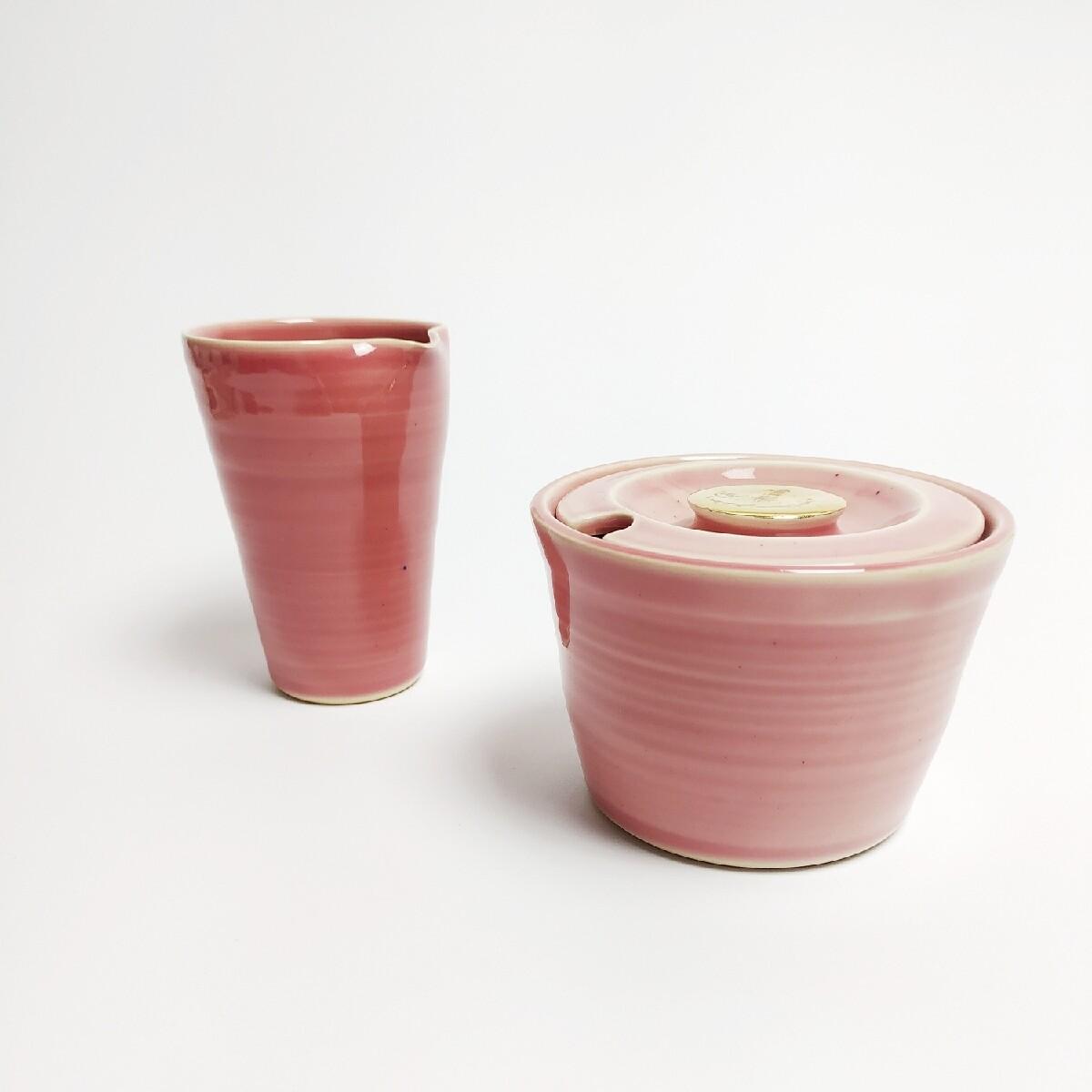 Zestaw cukiernica + mlecznik, różówy