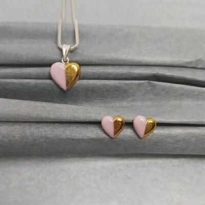 Komplet serduszka, różowe złocone