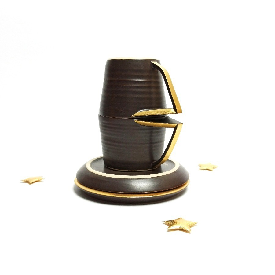 Zestaw 2 Filiżanki Brązowy mat złocony