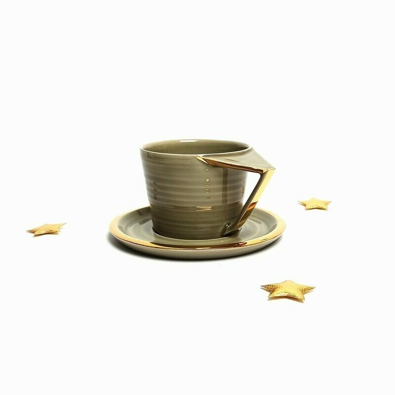 Filiżanka Cappuccino, szara, złocona