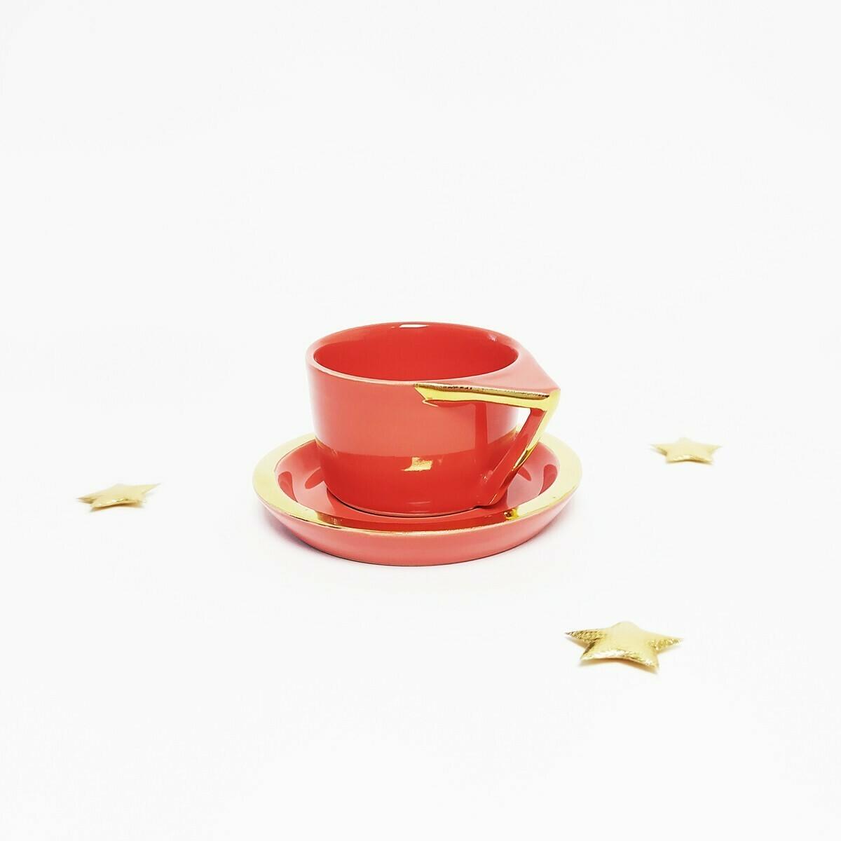 Filiżanka espresso, czerwona, złocona