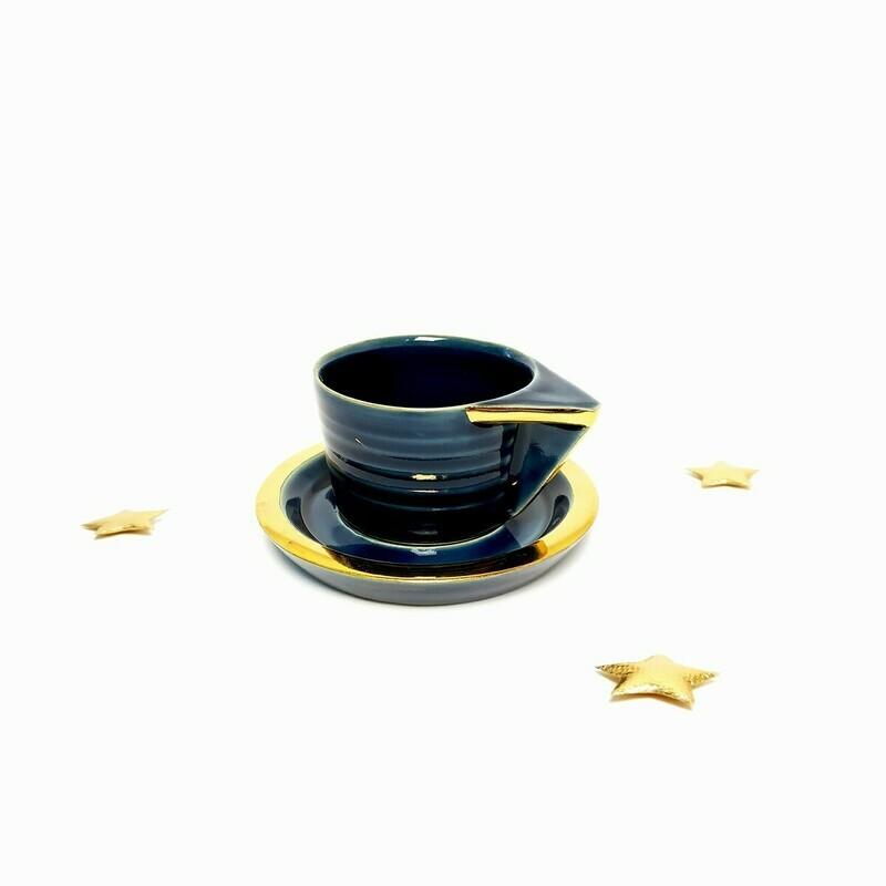 Filiżanka espresso, niebieska, złocona
